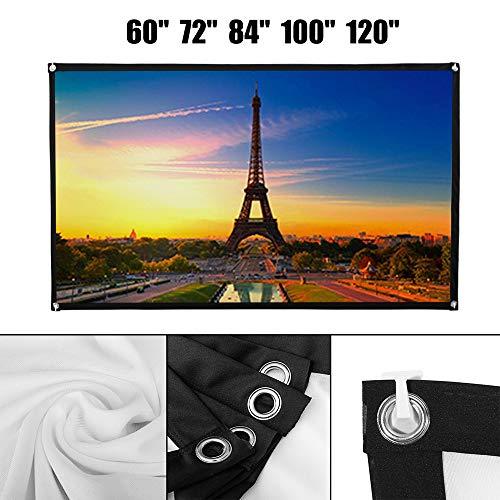 Projektor Screen Beamerleinwand 16: 9 72/84/120 Zoll HD Faltbarer Faltenresistent Projektorleinwand Projektionsfläche Rückprojektion Projektionsleinwand für Heimkino, Kinoleinwand usw (120 Zoll)
