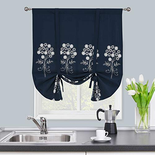 Navy Blue Tie Up Shades for Kitchen Bathroom Windows -Blackout Balloon Valances 63 Inch Length Embroidered Roman Curtains for Bedroom Living Room Darkening