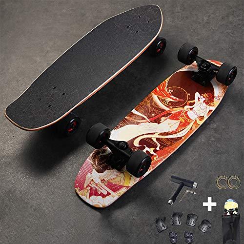 VOMI Hignful Anfänger Skateboard Cruiser Komplettboard Carving Surfskate Tanzbrett Brush Street Longboard Deluxe 7-Lagiges Kanadisches Ahorn-Skateboard Für Einsteiger ABEC-11 Kugellager,a