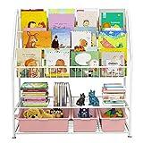 Estantería de 5 niveles para niños, estantería de pie, estantería para juguetes, librería, estantería infantil, estantería para libros, revistas, 82 x 30 x 97 cm, color blanco