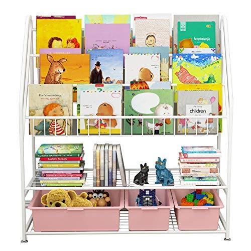 5-stöckiges Bücherregal für Kinder, Standregal, Spielzeugablage Bücherregal, Aufbewahrungsschrank, Kinderregal, Aufbewahrungsregal für Bücher, Büchergestell Zeitungsständer, 82 x30x97cm, weiß
