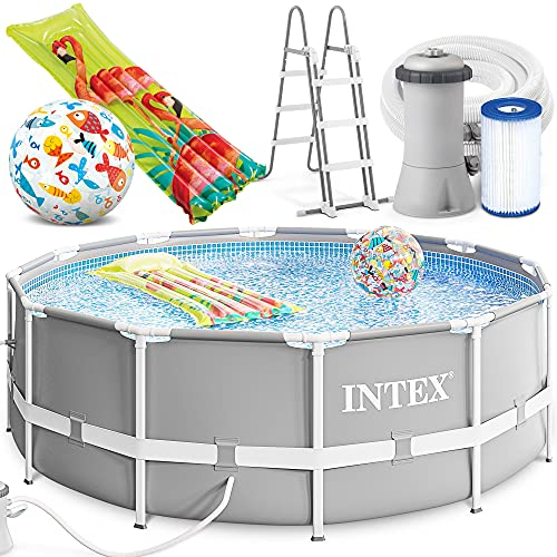 INTEX 366 x 99 cm Prism Metal Frame Swimming Pool Schwimmbecken 26716 Komplett-Set mit Extra-Zubehör wie: Strandball und Luftmatratze