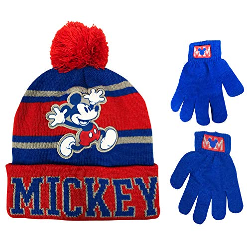 Disney Mickey Mouse Boys Winter Hat and Gloves Cold Weather Set, Age 4-7
