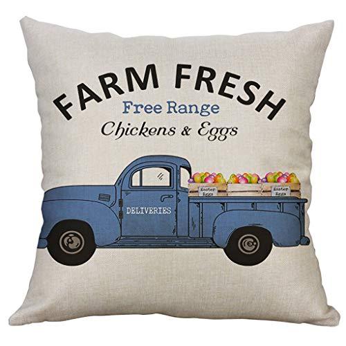 Moent Happy Easter Eggs - Funda de almohada cuadrada de algodón y lino para el hogar, funda de cojín para sofá, coche, decoración de festivales (D2)
