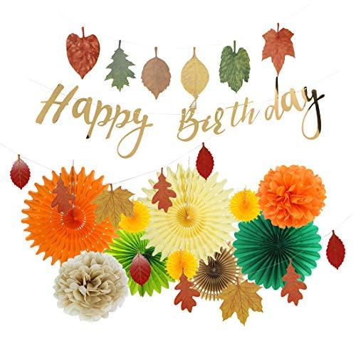 Easy Joy, Decoración para Cumpleaños, Sábanas de Colores, Abanico de Papel y Pompón, para Otoño, Naranja, Verte, Crema.