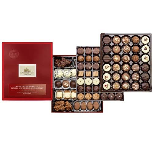 Lauensteiner Pralinen-Auslese 1.300g in Geschenkbox - 90 feinste Pralinen, 33 Sorten mit/ohne Alkohol - Ideales Geschenk für Frauen und Männer