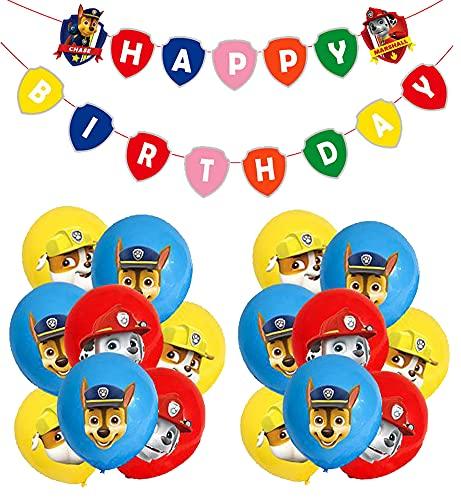 Decoraciones de Cumpleaños de Paw Dog Patrol Globos de Patrulla Canina Cumpleaños Pancarta Paw Dog Patrol Fiestas Decoraciones