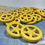 Plastic Project Wheels with 1/8' Hole - Made for Co2 Dragster Cars, Mousetrap Vehicles, and All Your Hobby Project Kits or Class Room Activities (Pack of 100) (Yellow)