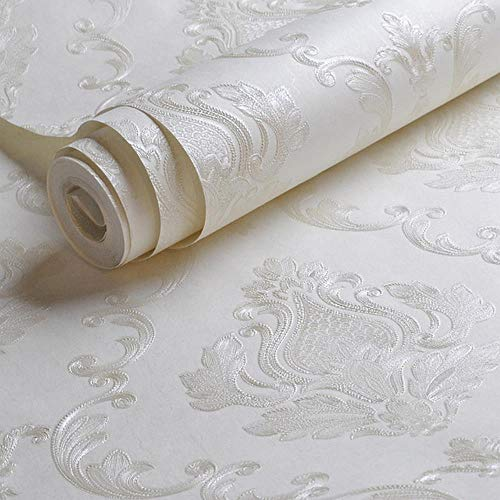 White Embossed Damask Wallpaper Bedroom Living room Background Floral Pattern 3D Textured Wall Paper Home Decor 10M Roll
