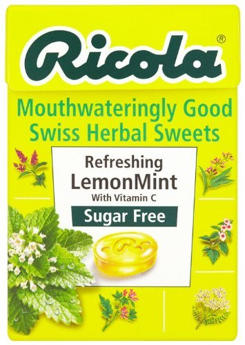 Ricola Mouthwateringly Good Swiss Herbal Sweets Sugar Free Refreshing Lemon Mint 45g x Case of 10