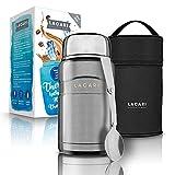 LACARI Termo | Recipiente térmico para alimentos de acero inoxidable en plata de 700ml | Taza para almuerzo y cereales para llevar | Libre de BPA | Incluye cuchara y bolsa