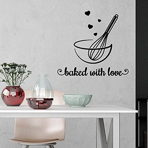 Panadería americana decorar pegatinas con la palabra amor para hornear mural impermeable arte de la pared calcomanía sala para hornear A2 57x62cm
