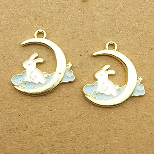 ZZMMSSGG 10Pcs 16X17Mm Enamel Moon Rabbit Charm for Making and Crafting Earring Pendant Cute Bracelet Necklace Charm