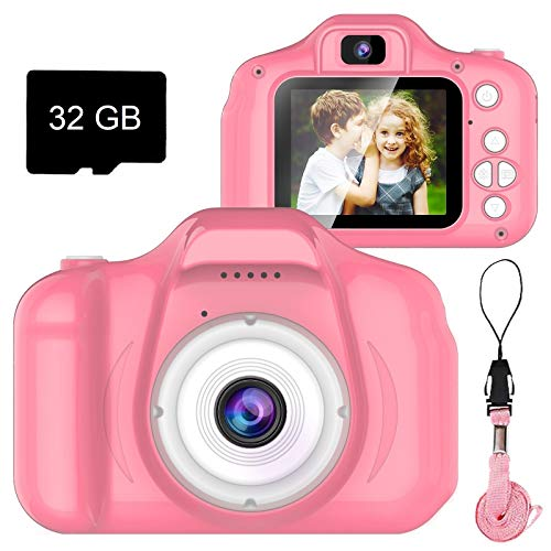 Seckton Upgrade Kids Selfie Camera, Christmas Birthday Gifts for Girls Age 3-9, HD Digital Video Cameras for Toddler, Portable Toy for 3 4 5 6 7 8 Year Old Girl with 32GB SD Card (Pink)