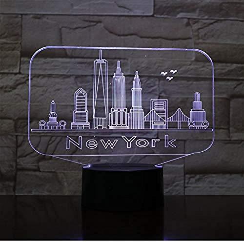 Lámpara de ilusión óptica New York City Usb 3d led lámpara de luz nocturna decoración niños bebé famoso edificio lámpara de mesa neón mesita de noche