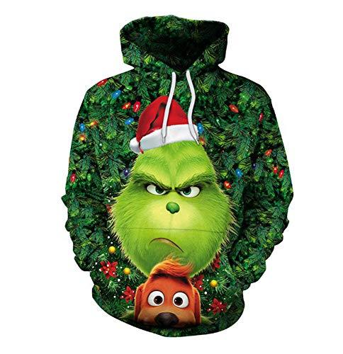 domorebest Unisex Weihnachten Pullover grün Monster The Grinch 3D gedruckt lustige Muster Weihnachten Sweatshirt