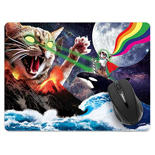 Extra Large (X-Large) Size Non-Slip Rectangle Mousepad, FINCIBO Whale Astronaut Cat Mouse Pad for Home, Office and Gaming Desk