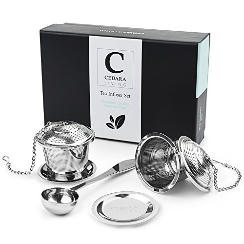 Tea Steeper (Set of 2) - Stainless Steel Loose Leaf Tea Infuser - Suits Single Cup Mug Or Teapot - Gift-box, 2 Tea Strainers, 1 Tea Scoop and 2 Drip Trays Included