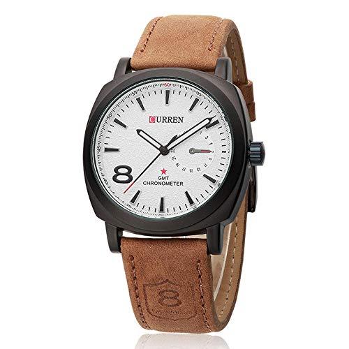 Reloj para Hombre de Moda Relojes analógicos de Cuarzo con Correa de Cuero -A