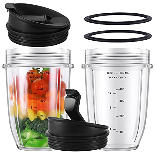 (Pack of 2) 18 oz Replacement Cup set with White Sealing Ring and Sip & Seal Lids Compatible with BL450 BL480 BL490 BL2012 NN101 Nutri Ninja Auto-iQ 1000w Series and Duo Blenders