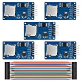 KeeYees 5 Pack Micro SD Mini TF Card Adater Reader Module - Micro SDHC SPI Interface Driver Module with chip Level Conversion for Arduino + 40 Pin Female to Female Jumper Wire