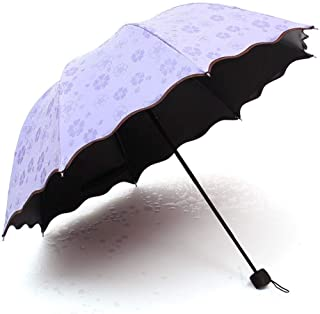 AUWANGAOFEI Water-Proof Flowering Black Plastic Rain and Rain Dual-use Parasol Creative Folding Anti-UV Sun Umbrella (Color : Purple)