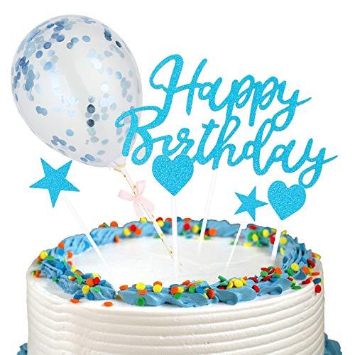 2PCS Happy Birthday Garland + 20PCS Stars Cake Topper + Topper Confetti Balloon Cake Decoration Set for Birthday Decoration (Blue)