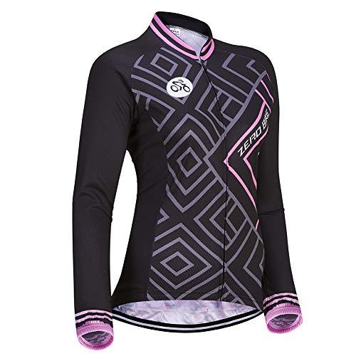 Damen Atmungsaktiv Schnelltrocknend Fahrradtrikot, Outdoor Lange Ärmel Radsport-Shirt (0030, L)