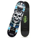 LNDDP Komplettes Street Skateboard, Retro Cruiser Maple Wood Longboards mit einem Gewicht von 150 kg, für Anfänger Erwachsene Kinder Jungen Mädchen Mädchen ab 4 Jahren