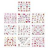 Lurrose 10 Hojas Autoadhesivas Punta del Arte del Clavo Pegatinas calcomanías día de San Valentín Amor corazón Etiqueta engomada Decorativa