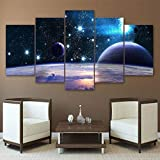 XLST Toile HD Imprimé Univers Galaxy 5 Panneau Réflexion Espace Planète Modulaire Image Home Décorer Affiche Imprime Mur Art Peinture,B,40x60x2+40x80x2+40x100x1