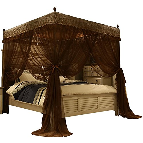 Nattey 4 Corners Post Canopy Bed Curtain for Girls & Adults- 4 Openings Bed Canopies -Bedroom Decoration Accessories(Queen,Coffee)