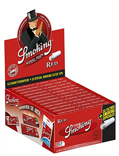 Box 24 x Smoking RED KS Papers inkl Filtertips (24x33/33) Tips Filter Zigarettenpapier