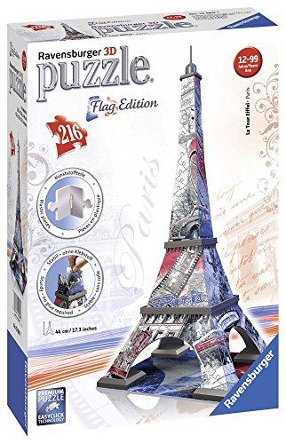 Ravensburger 12580 - Flag Edition Eiffelturm - 3D Puzzle-Bauwerke, 216 Teile