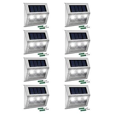 Solar Step Lights 1000mAh Battery JACKYLED Solar Deck Lights 8-Pack LED Solar Powered Weatherproof Dock Lighting for Steps Stairs Paths Patio Decks