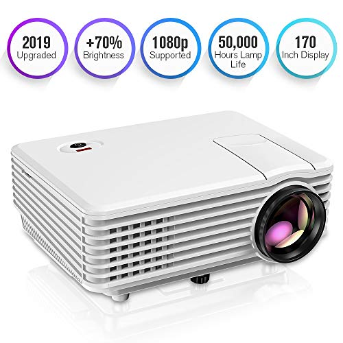 TENKER Projector, Mini Projector Portable 170'' Display, 1080P Supported Video Projector, 50000 Hours LED Movie Projector Compatible with HDMI, USB, AV, VGA, Phone and Laptop