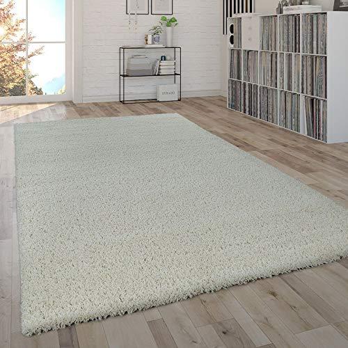 Paco Home Shaggy Teppich Hochflor Flauschig Wohnzimmer Uni In Versch. Farben & Größen, Farbe:Ivory (Creme), Grösse:240x340 cm