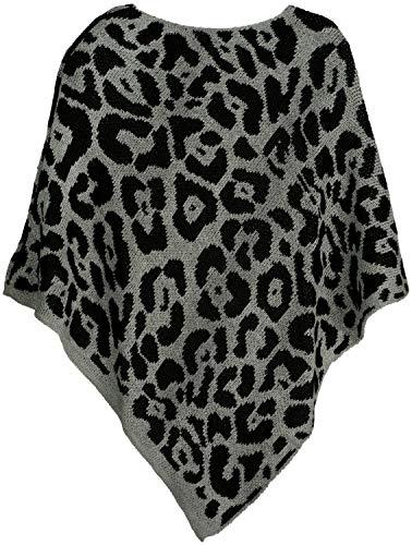 styleBREAKER Damen Feinstrick Poncho mit Leoparden Muster, Animalprint, Rundhals 08010057, Farbe:Hellgrau
