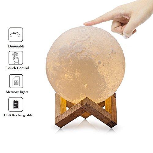 Preisvergleich Produktbild T-MIX Moonlight Lampe,  Night Light 3D Druck Moon Lampe Lunar USB Leuchten Nacht Licht,  Touch Control Helligkeit Two Tone,  Durchmesser 7.9 inch