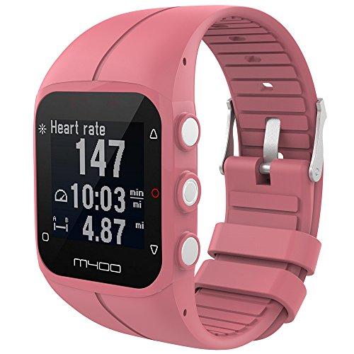 Für Polar M400 M430 Fitness Watch Mode Silikon Ersatz Armband Armband Smart Band Zubehör Ersatzband Bracelet Handgelenk Band Replacement Wristband (Pink)