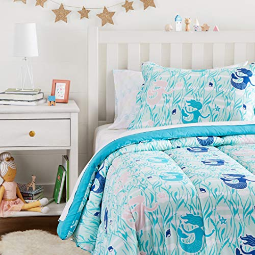 Amazon Basics Easy Care Super Soft Microfiber Kid's Bed-in-a-Bag Bedding Set - Twin, Blue Mermaids