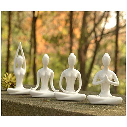 Aifeer Keramik Meditation Yoga Pose Schwarz/Weiß 4 Stück Set Figur Statue Sammlungen Handwerk Geschenk Haus Zen Garten Dekor