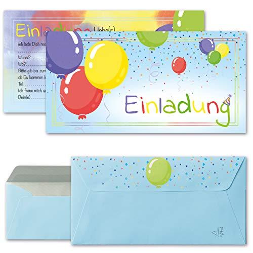 Any Age Art Luftballons Einladungskarten mit Umschlägen Set 12 - Kindergeburtstag Einladungen Kinder Jungen Geburtstag Karten Feier Party Ballons (Blau 12 Einladungskarten + 12 Umschlägen)