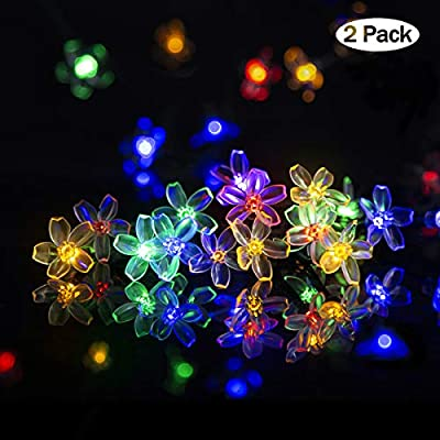Solpex Solar Strings Lights, 2 Pack Solar Fairy Lights 23 Feet 50 LEDs Flower Lights, Garden Lights for Outdoor, Home, Lawn, Wedding, Patio, Party and Holiday Decorations- Multi Color