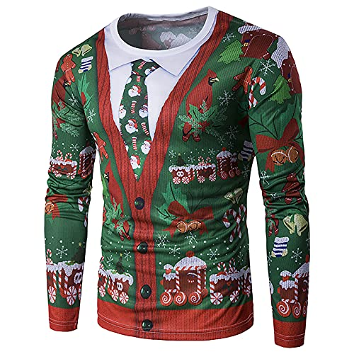 Men's Christmas T Shirts Santa|Reindeer Graphic Long Sleeve Slim Fit Shirts Casual Sport Workout Athletic Tee Tops