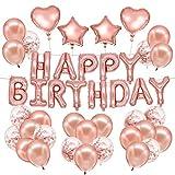 HusDow - Striscione Decorativo per Compleanno, 70 Pezzi, 10 coriandoli, 40 coriandoli Dorati in Lattice, 4 Rotoli di Nastro per Palloncini, Confezione da 4