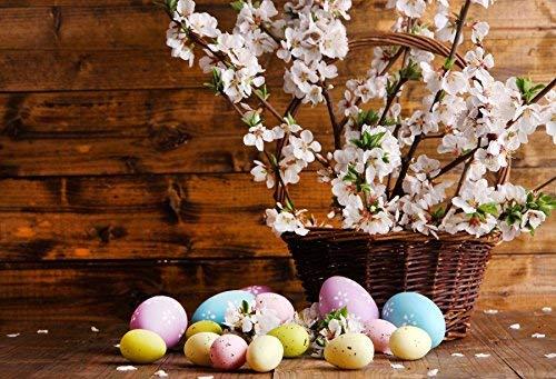 MMPTn Frühlingsblüten Fotografie Hintergrund 5x3ft Osterdekoration bunt bemalte Eier auf Holz Hintergrund Plankenboden Vintage Pfirsich Blumen Zweig Hintergründe Studio