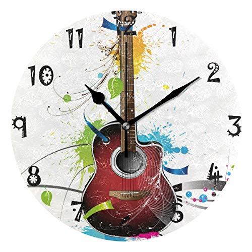 LDIYEU Guitarra Arco Iris Reloj de Pared Silencioso Decorativo Madera Vintage Relojs para Niños Niñas Cocina Dormitorio Hogar Oficina Escuela Decoración