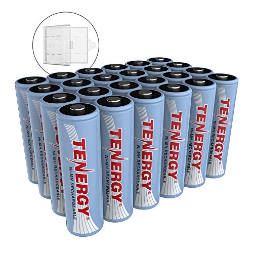 Tenergy NiMH AA, 1.2V AA, High Capacity 2500mAh Double A Cell, 24 Pack w/Bonus 6 Battery Cases