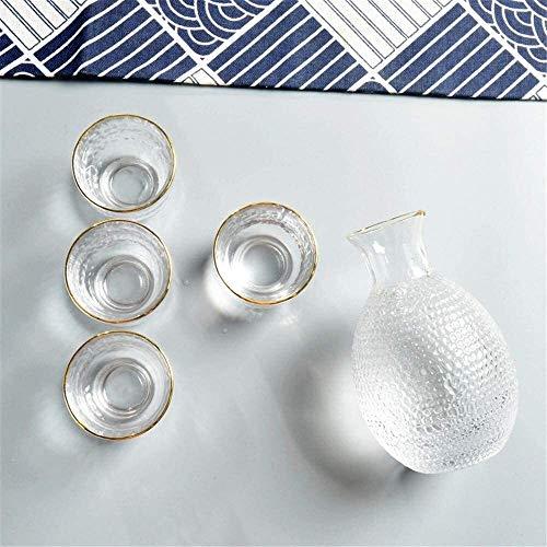 WACE 6 Stück Traditionelle japanische Sake Set 1 Weinkühler und 4 Sake Cups mit 1 Sake Portionsflasche mit Gravur von Hand Design 0517